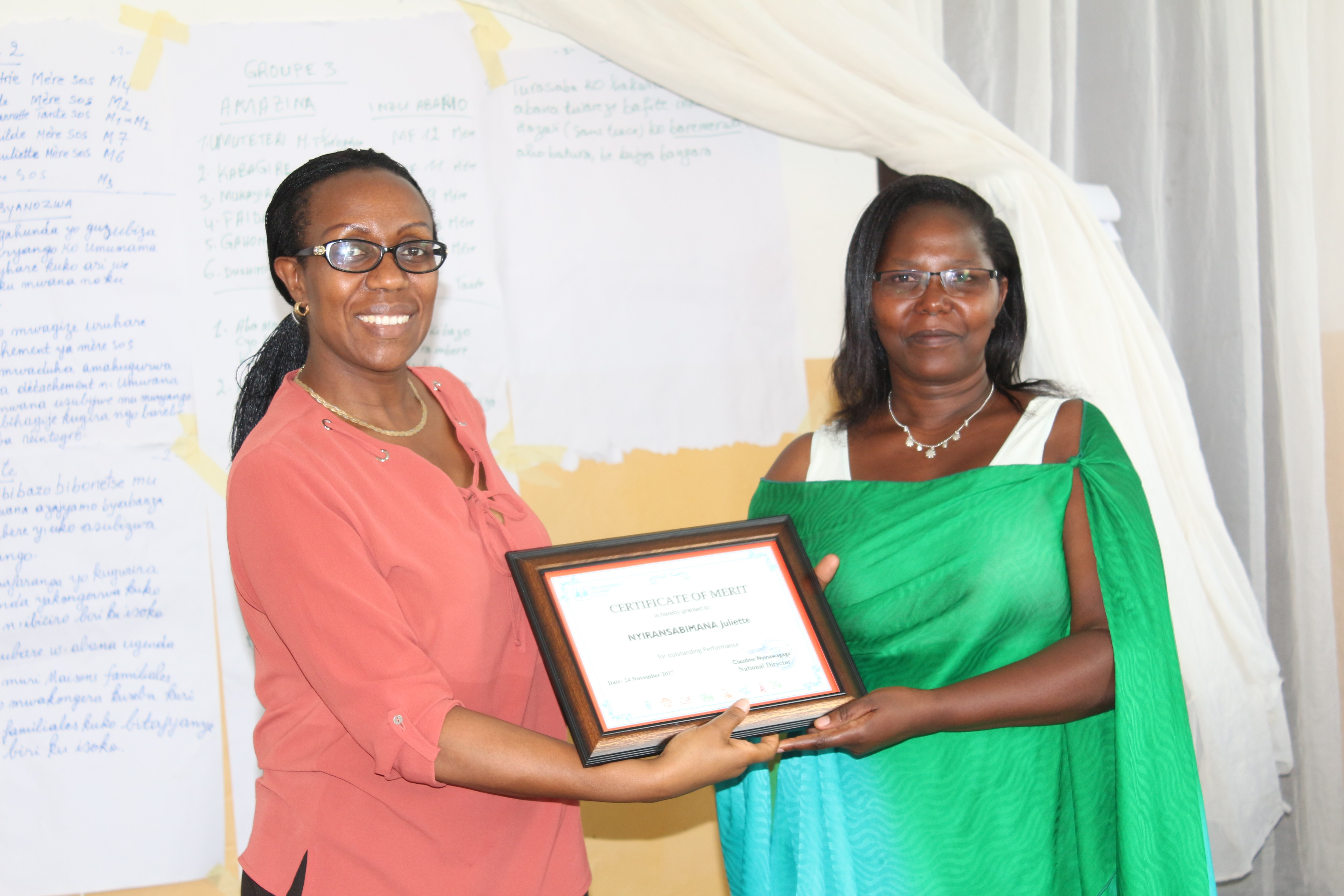 SOS CV RWANDA awarded the best Core-care-co-workers of the year 2016
